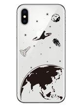 Moon Night Airship Astronaut Stars UFO Clear Soft TPU Design Phone Case Cover For iphone SE 5 5S 6 6S 6Plus 7 7Plus 8 8Plus X 10