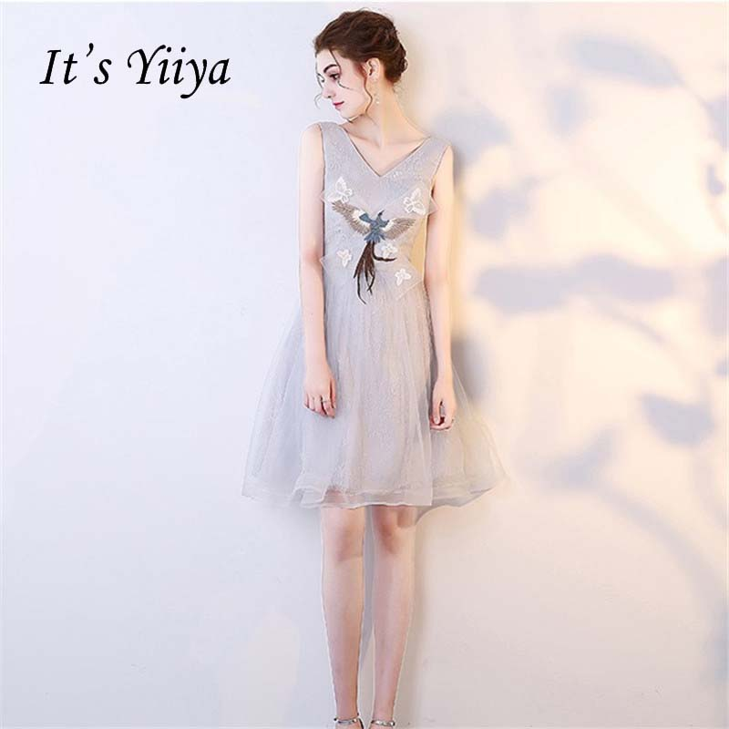 It's YiiYa Different Design Choose Flowers Vintage Knee Length Dinner   Bridesmaids     Dresses   Lace Up Party Short Formal   Dress   YS044