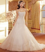 Tailor Made Puffy Strapless Corset Back Sweep Train Organza Wedding Gowns Free Shipping 2014 With Appliques ST11411