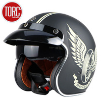 Free shipping Fashion brand TORC vintage motorcycle helmets matte black captain america Goggles Retro Vintage Style ECE