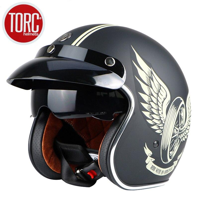 Livraison gratuite marque de mode TORC vintage moto casques mat noir capitaine amérique lunettes rétro Vintage Style ECE