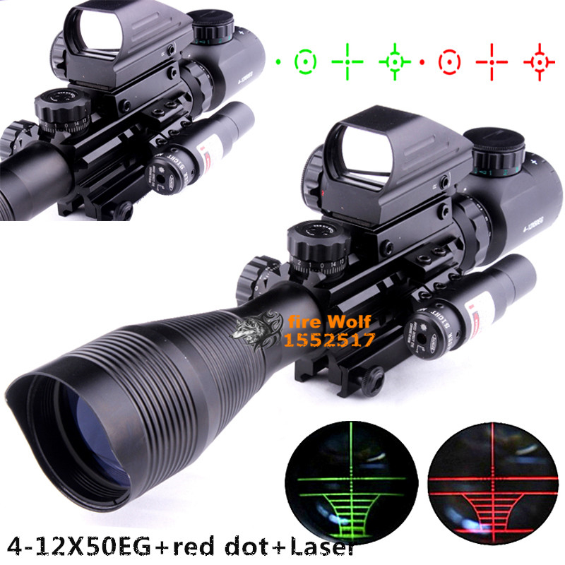 4-12X50EG Tactical Rifle Scope with Holographic 4 Reticle Sight & Red Laser Combo Airsoft Gun Weapon Sight Hunting free shipping 54x3w flat led par light rgbw best quality par can dmx512 disco dj home party ktv led stage effect projector