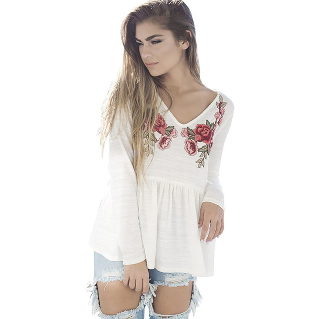 Women Blouse 2017 New Fashion Women Floral Applique Top Loose Casual Shirt  Patchwork Blouse White S