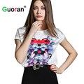 {Guoran} Nova primavera 2017 mulheres blusas florais senhoras impressas tops o-pescoço manga curta camisas femme roupas plus size chiffon