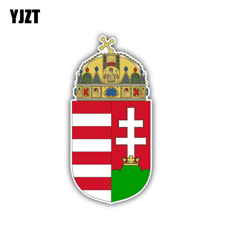 YJZT 5.7CM*11.7CM Creative Decal Hungary Flag Coat Of Arms Car Sticker Accessories 6-1490