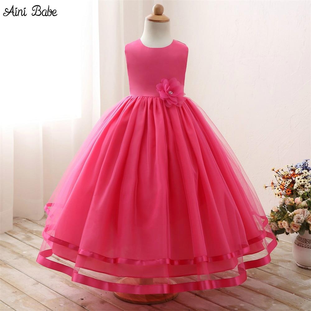 Aini babe girl dresses long evening dress pageant wedding for Dresses for girls for wedding