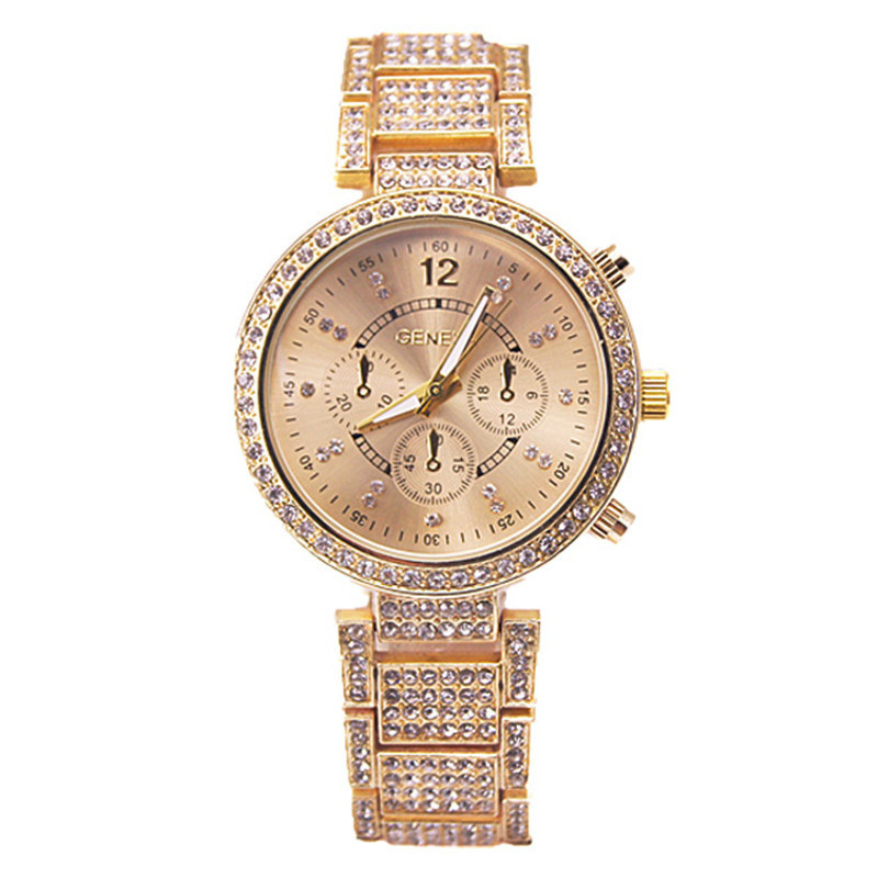 2016 New Fashion Geneva Watch Women Dress Watches Rose gold Full Steel Analog Quartz men Ladies Rhinestone Wrist watches 2016 luxury brand ladies quartz fashion new geneva watches women dress wristwatches rose gold bracelet watch free shipping