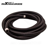 20 Feet 8 AN 8AN AN8 Black Nylon Braided Fuel Oil Gas Line Hose 1000 PSI