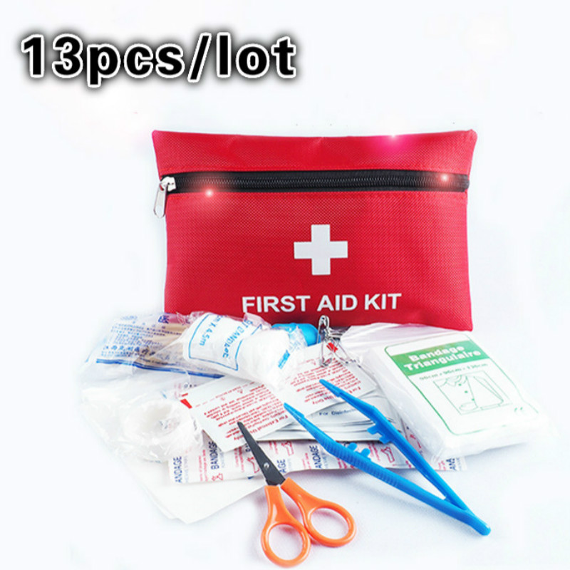 13pcs/lot Professional First Aid Kit High Quality Red First Aid Bag Travel Camping Home Medecine Emergency Survival Rescue Bag emergency first aid tourniquet for travel camping home green white