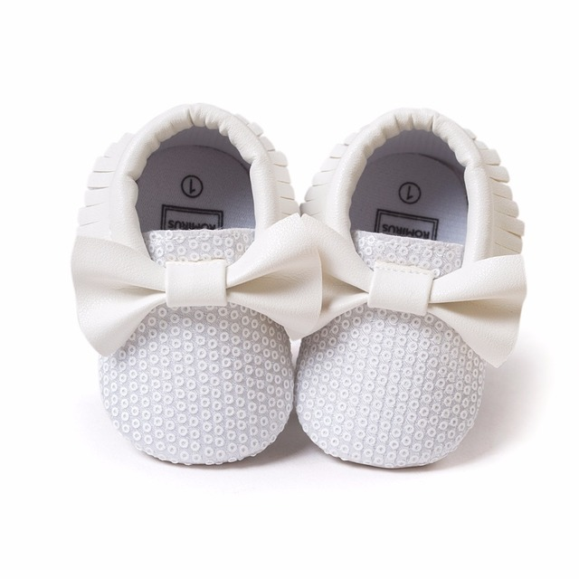ab842c3fc3 US $3.21 31% OFF|2016 new fashion white sequins baby bow moccasins Bling  Bling pu leather glitter baby girls dress shoes toddler soft sole moccs-in  ...
