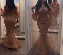 Champagne Beaded Mermaid Backless Long Evening Dresses 2015 Off the Shoulder Long Sleeves Evening Gowns Dubai Arabic Dresses black off the shoulder long sleeves dresses