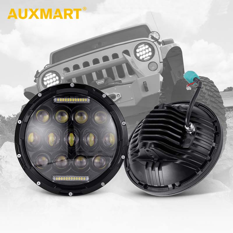 Auxmart 2Pcs 7inch 75W Led DRL Auto Headlight Bulbs Hi lo H4 H13 Headlights Led Driving Light for JEEP WranglerTJ/JK/Land Rover 7inch for jeep led headlight 5x7 headlight type led driving light 24v car led headlights 7x6 led headlamp light 5 7inch h4 h l