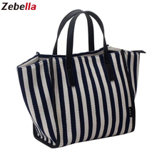 Zebella Women Shoulder Bag Canvas Shopping Bags For Girls Fashion Tote Bags Stripe Handbags For Travel Beach Crossbody  Bags