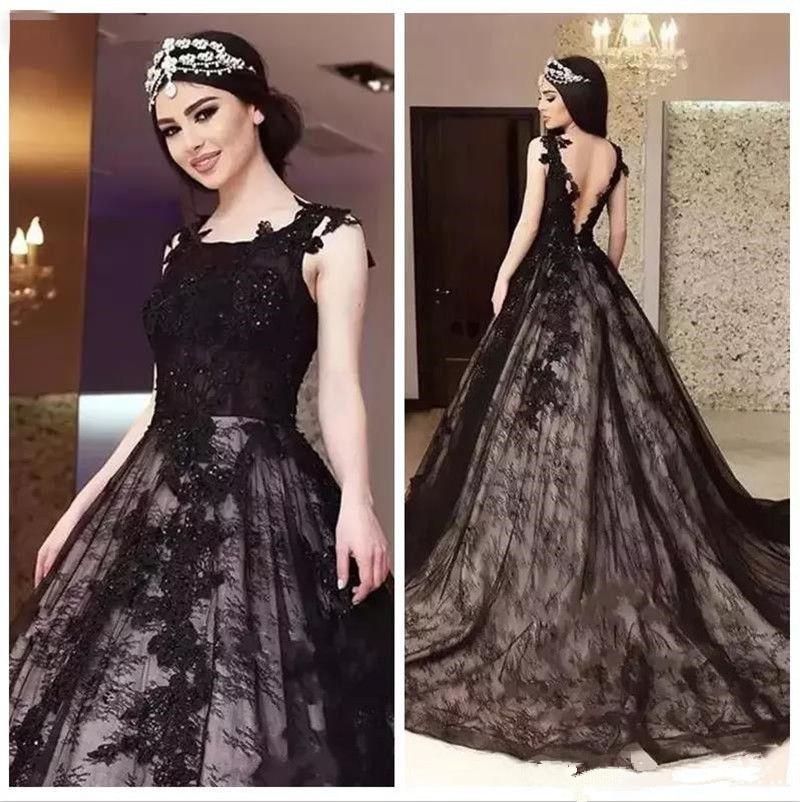 Elegant Black Lace Appliques Wedding Dress A Line Open Back Beaded Gothic Plus Size Bridal Gowns