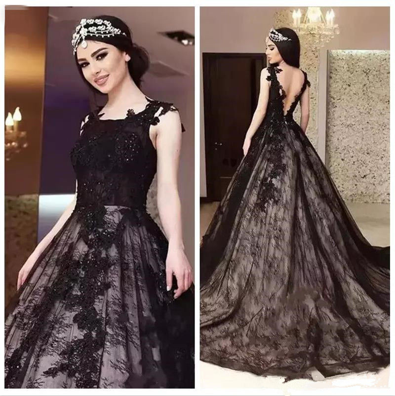 Elegant Black Lace Appliques Wedding Dress A Line Open Back Beaded ...