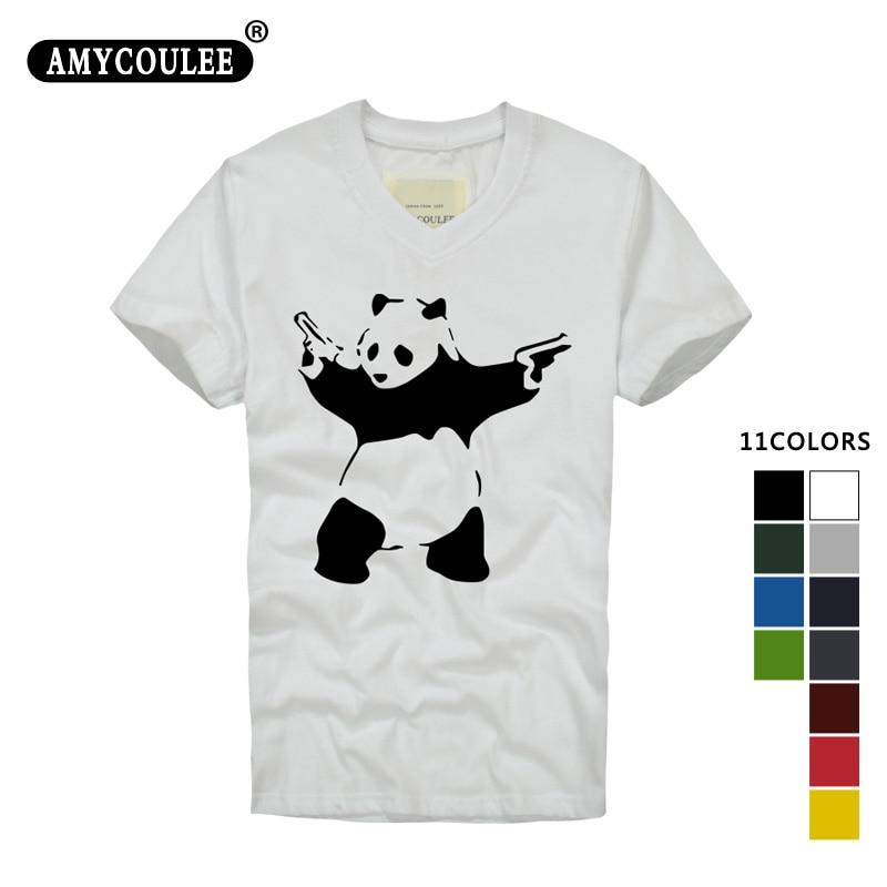 100% Bawełna Męska Koszulka Banksy Panda Pistolety Śmieszne Koszulki Mężczyźni Na Co Dzień moda Top T-shirty Z Krótkim Rękawem V Szyi Koszulki Plus Size