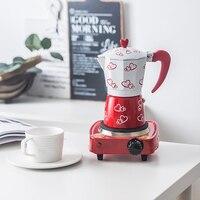 Mocha Coffee Pot Octagonal Aluminum Coffee Pot Espresso Mocha Coffee Pitcher Handmade Coffee Machine Tool with Electric Furnace