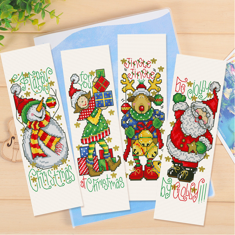 Christmas DIY Craft Stich Cross Stitch Bookmark Nests Plastic Fabric Needlework Embroidery Crafts Counted Cross-Stitching Kit