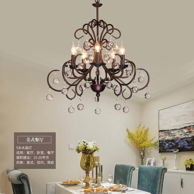 Nordic living room bedroom crystal chandelier industrial wind ...