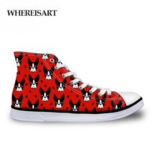 WHEREISART 2019 Sneakers Women Vulcanize Shoes Boston Terrier Red High-top Canvas Tenis Feminino Casual Female