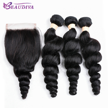 BEAUDIVA Brazilian Human Hair Weave Loose Wave Bundles With Closure Extension Deep Curly