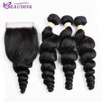 BEAUDIVA Pre Colored Natural Color Human Hair Weave Loose Wave Three Bundles With 4 4 Closure