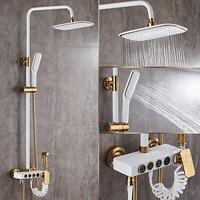 Shower Faucets Brass White Bath Shower Set Wall Mount Bathtub Faucet Set Rain Shower Head Handheld Round Tub Mixer Taps WF 18088