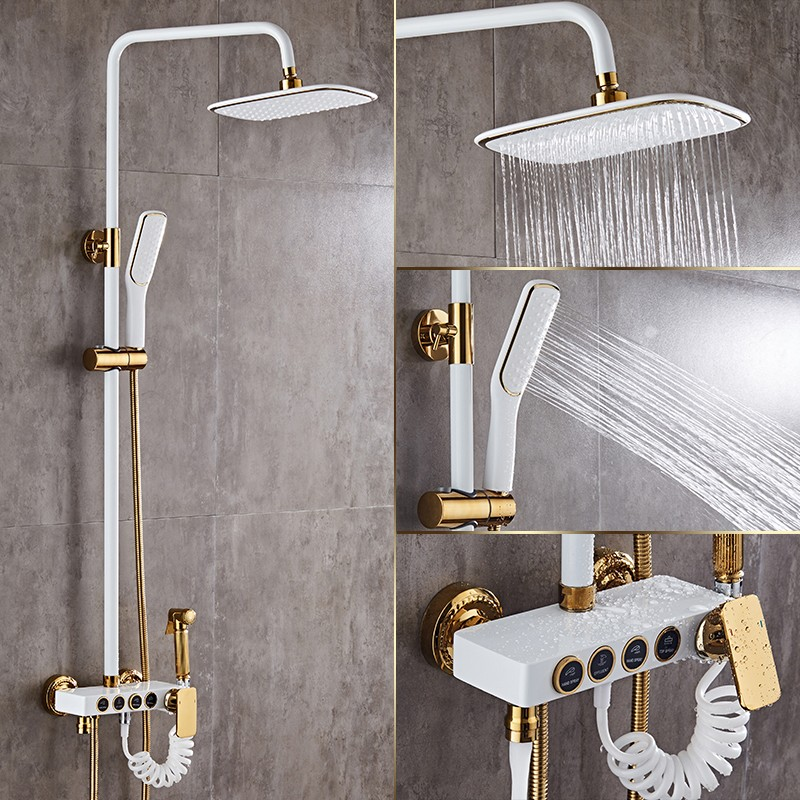 Shower Faucets Brass White Bath Shower Set Wall Mount Bathtub Faucet Set Rain Shower Head Handheld Round Tub Mixer Taps WF-18088Shower Faucets Brass White Bath Shower Set Wall Mount Bathtub Faucet Set Rain Shower Head Handheld Round Tub Mixer Taps WF-18088