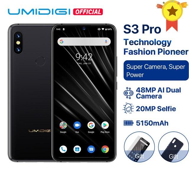 """UMIDIGI S3 פרו אנדרואיד 9.0 48MP + 12MP + 20MP סופר מצלמה 5150 mAh כוח גדול 128 GB 6 GB 6.3 """"FHD + NFC קרמיקה הגלובלי להקות Smartphone"""