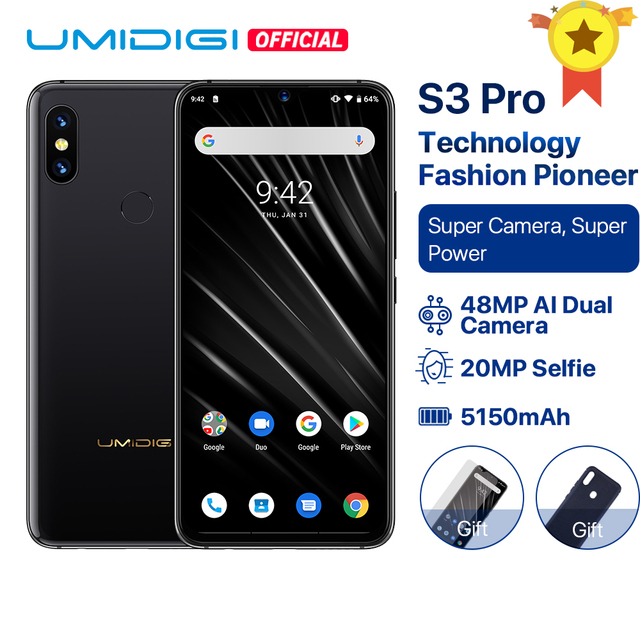 """UMIDIGI S3 PRO Android 9,0 48MP + 12MP + 20MP Super cámara 5150 mAh de gran potencia 128 GB 6 GB 6,3 """"FHD + NFC de cerámica mundial bandas Smartphone"""