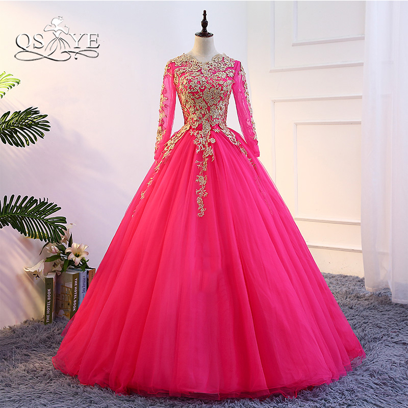 QSYYE Prom-Dresses Beaded Evening-Dress Party-Gowns Robe-De-Soiree Tulle Long-Sleeve