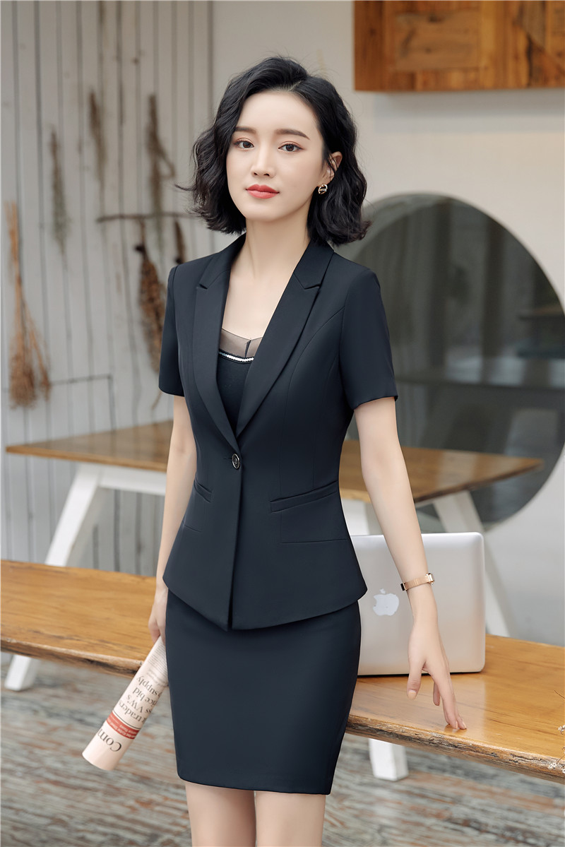 Formal Two Piece Uniform Styles Blazers Suits With Tops And Skirt For Business Women Blazers & Jackets Office Skirt Sets Black
