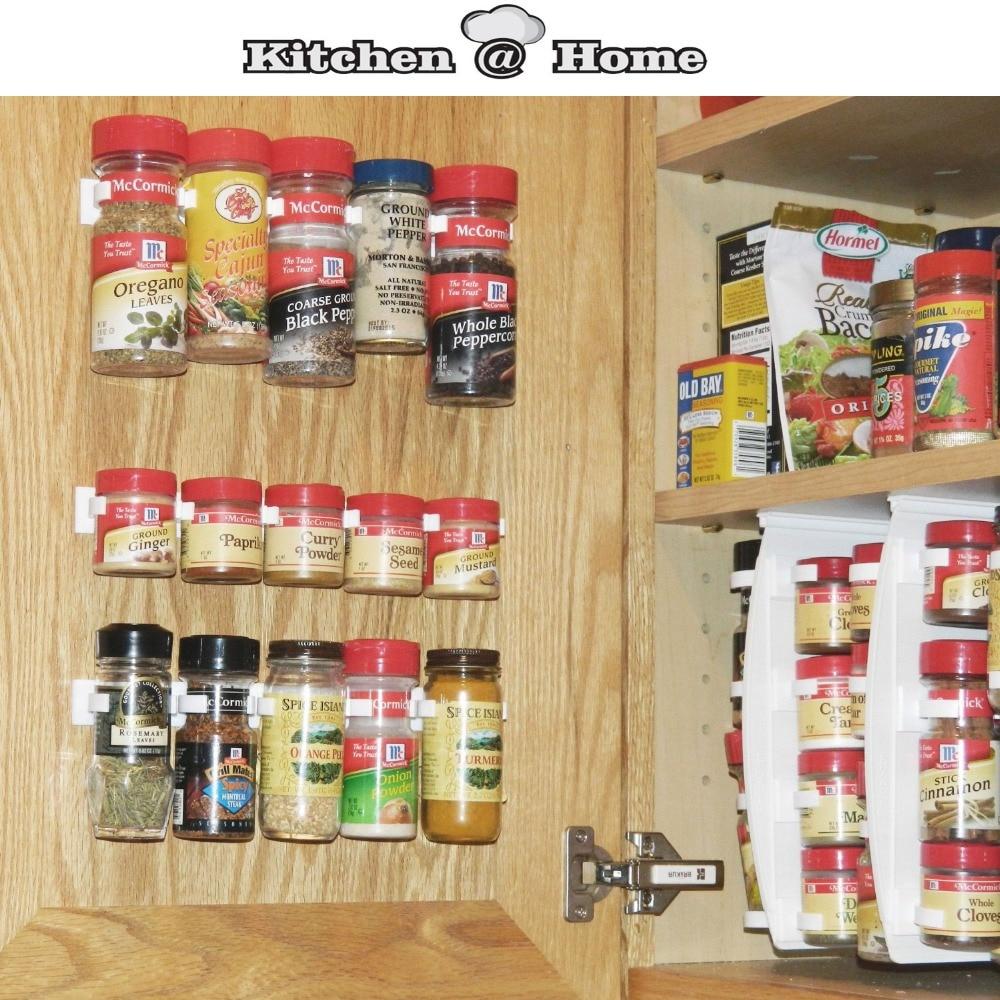 Plastic Spice Gripper Wall Rack Storage Holders Flavoring Racks Kitchen  Organizer 3PCS/Set Clips 12 Cabinet Door Hooks S002