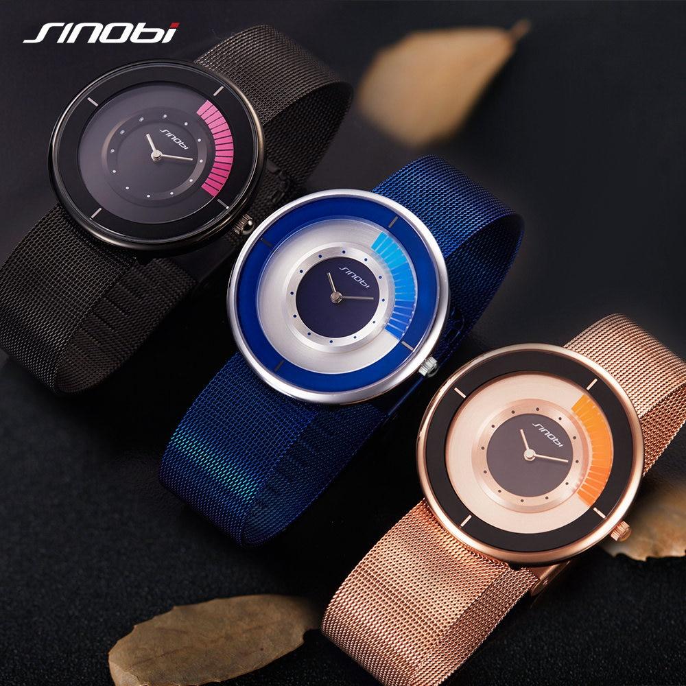 SINOBI Ultra thin Dial Mens Watches Top Brand Mesh Strap Wristwatch Rotate Creative Quartz Watch Male