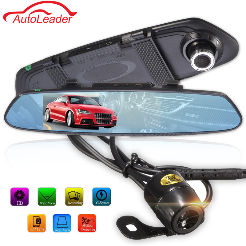Newest 4.3 Inch 170 Degree HD 1080P Rearview Mirror Dual Lens Car DVR Dash Camera Vehicle Video Recorder dash cam Registrar