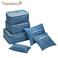 DINIWELL Brand 6 PCS Travel Storage Bag Set For Clothes Tidy Organizer Pouch Suitcase Home Closet Divider Container Organiser
