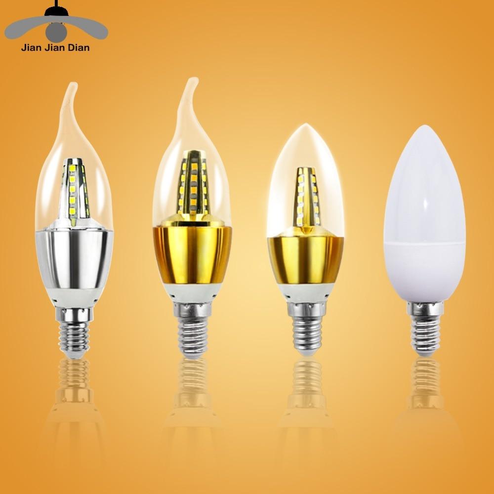 E14 LED Candle Bulb Light E27 Energy Saving Lamp 220V 3W 5W 7W E12 B15 B22 Bombilla Lampara Chandelier Home Decoration Spotlight led gold deco chandelier bulbs candle light e14 85 265v 5w lamps