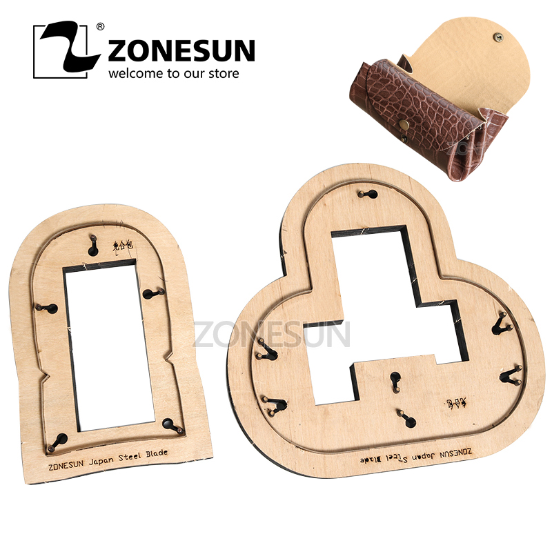 ZONESUN two in one coin purse pouch Customized leather cutting die handicraft tool punch cutter mold