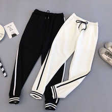 Women Jogger Pants 2020 New Spring And Autumn Black White Female Ankle-Length Pants Student Teenager Girls Korean Style N38 men pants thin 2019 new arrival spring and autumn linen cotton casual male ankle length pants black gray khaki korean style n29