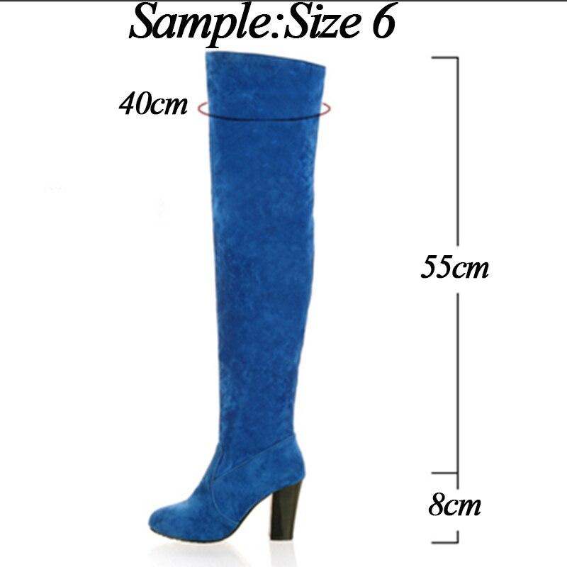 Por 0 0 Invierno Blue blue Plus Mujer 8 2019 Gamuza Tacón Cm Chicas De Tamaño 1 La brown Zapatos Encima Azul Las 0 Alto Mujeres 1 gray black Nieve 0 black gray 1 Botas brown Calientes 1 Rodilla BIgpqg