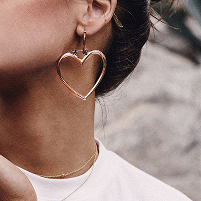 Aomu New Gold Color Double Heart Hoops Earrings For Women Brand Designer Jewelry Oversized
