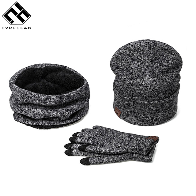 fe9d5da5212 Fashion 3 Pieces Set Women Winter Hat And Gloves Sets Cotton Unisex Hat  Scarf Gloves Set Solid Hat And Scarf Set For Men Women