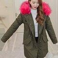 Além de size2016 brand new cinza jaqueta de inverno mulheres casaco parka com natural real grande luz rosa gola de pele com capuz grosso quente Jack