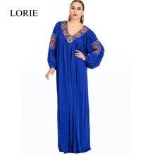 Plus Size Royal Blue Muslimischen Abendkleider 2017 Abaya In Dubai Perlen Langarm Brautkleider Türkei Frauen Formales kleider