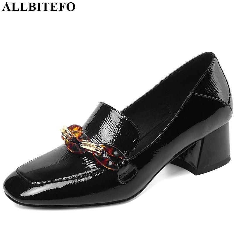 ALLBITEFO Real Genuine Leather Women Heels Metal Decoration Fashion High Heel Shoes Spring Autumn High Heels Comfortable
