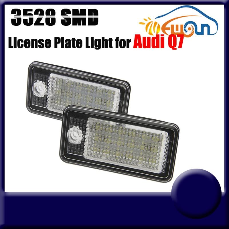 2016 White 3528SMD LED License Plate Lights for Audi Q7 RS6 Plus/Avant RS4/Avant quattro S6 12v 18SMD Car Led Number Plate Lamp