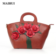 MAIHUI women leather handbags high quality real cow genuine leather shoulder bags 2017 new national ladies embossing tote bag