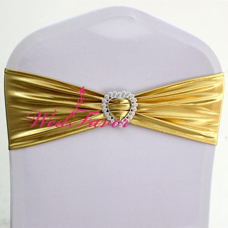 100pcs Shiny Bronzing Elastic Lycra Chair Bow Sash Metallic Gold Spandex Stretch Chair Band With Heart