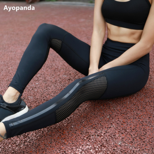 Ayopanda 2017 Hot Sale Women Net Hole Yoga pants High Waist Sports Legging  Shiny Strap Jogging Tights Fitness Workout Trousers 8068530701b6