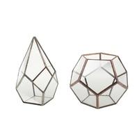 2 Pieces Glass Geometric Terrarium Boxes Tabletop Succulent Plants Planter